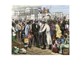 African-Americans Moving north Welcomed at the St. Louis Steamboat Dock, 1880s Giclee Print