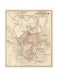 Mapa de la Ciudad de Jerusalén, 1870s Lámina giclée