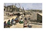 Siversmiths at Work in Zuni Pueblo, New Mexico, 1800s Photographic Print