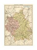 Map of Huntingdonshire and Cambridgeshire, England, 1870s Giclee Print