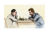 US Championship Chess Match Between Sam Lipschutz (Left) and Jackson Showalter, 1892 Photographic Print