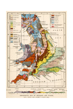 Geological Map of England and Wales - Giclee Baskı