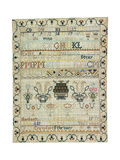 Hand-Stitched Sampler of needlework on Linen, Signed Margaret Crawford, February 15, 1795 Giclee Print
