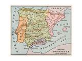 Karte von the Iberische Halbinsel in the 1400s Giclée-Druck
