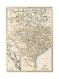 Map of Texas and Indian Territory (Now Oklahoma), 1870s Giclee Print