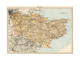 Map of Kent, England, 1870s Giclee Print
