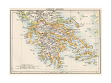 Map of Greece, 1870s Giclee Print
