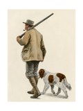 Duck Hunter with His Gun Dog, Circa 1900 Giclee Print