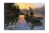 Fishing for Bass From a Rowboat in the north Woods Photographic Print
