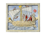 Roman Sailors Hoisting Sail, From Art on a Tomb at Pompeii Giclee Print