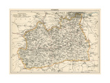 Map of Surrey, England, 1870s Giclee Print