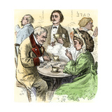 Man and Woman Playing Dominoes in a Cafe, 1800s Giclée-Druck