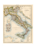 Map of Italy, 1870s Giclee Print