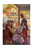 Riverboat Passengers Waiting at a Village Landing, Early 1800s Photographic Print