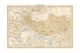 Map of Himalaya Region of Asia, 1870s Papier Photo
