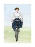 Gibson Girl on a Bicycle, 1890s Giclee Print