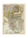 Map of the Balkan Peninsula, 1870s Giclee Print