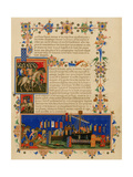 Illuminated Manuscript Page Depicting the Crusades, in French Giclee Print