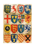 Shields with Arms of Mostly Mythical Sovereigns, Made by An English Painter, 1400s Giclee Print