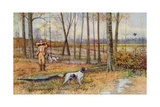 Sportsman with His English Setters Hunting Woodcock, Circa 1900 Photographie
