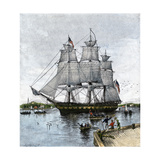 "USS ""Constitution"" Being Towed Out of Boston Harbor, 1812 Stampa giclée"