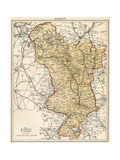 Map of Derbyshire, England, 1870s Giclee Print