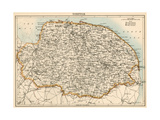 Map of Norfolk, England, 1870s Giclee Print