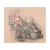 Woman Reading And a Girl Playing (Marquise De Pompadour With Her Daughter Alexandrine) Giclee Print