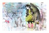 Cão na chuva Posters por Lora Zombie