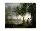 Orpheus Leading Eurydice From the Underworld Giclee Print by Jean-Baptiste-Camille Corot