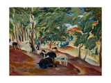 Korolkovskiye Dachas. Sheeps At the Edge of the Forest Giclee Print by Alexei Ilyich Kravchenko