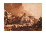 Cottages Under a Stormy Sky Giclee Print by  Rembrandt van Rijn