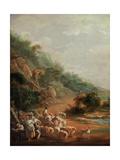 Scene With Villagers Giclee Print by Luis Paret y Alcazar