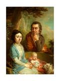 Portrait of Vasily Nebolsin, His Wife Avdotia And Child Reproduction procédé giclée