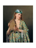 Portrait of a Lady of the Court Playing the Tambourine Giclee Print by Pierre Desire Guillemet
