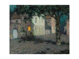 Moonlit City Square in Cherbourg Giclee Print by Henri Le Sidaner