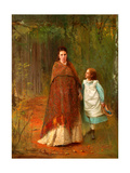 In the Park. Portrait of the Artist's Wife And Daughter Giclee Print by Ivan Nikolayevich Kramskoi