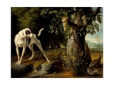Landscape With a Dog And Partridges Giclee Print by Alexandre Francois Desportes