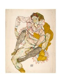 Seated Couple Giclee Print by Egon Schiele