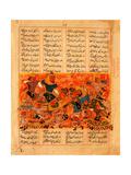 Rustam Kills the Turanian Hero Alkus With His Lance (Manuscript Illumination From the Epic Shahname Giclee Print