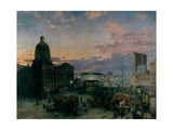 Washington Street, Indianapolis At Dusk Giclee Print by Theodor Groll