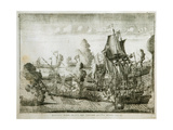 The Naval Battle of Gangut on July 27, 1714 Giclee Print by Alexei Fyodorovich Zubov