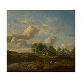 Landscape With a Farm by a Stream Giclee Print by Adriaen Van De Velde