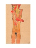Nude Girl With Folded Arms Giclee Print by Egon Schiele