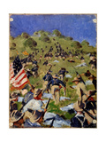 Charge of the Rough Riders At San Juan Hill in 1898 Giclée-tryk