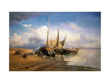 View of the Volga. Boats Giclee Print by Fyodor Alexandrovich Vasilyev