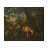 Peasants With Cattle Fording a Stream Giclee Print by Adriaen Van DeVelde