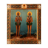 Venerable Onuphrius And Saint Peter of Mount Athos Giclee Print by Vasily Pavlovich Guryanov