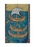 The Roman Galleys. Mosaic From Ravenna, Copy Giclee Print