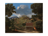 Landscape With Antique Tomb And Two Figures Giclee Print by Nicolas Poussin